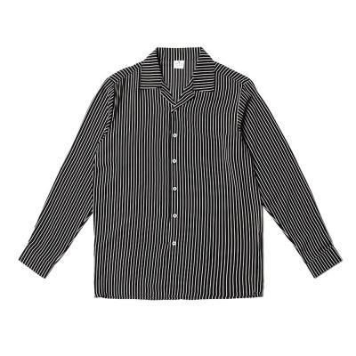 남자 파자마 오픈카라 잔줄 스트라이프 셔츠
