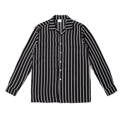 남자 파자마 오픈카라 스트라이프 줄지 셔츠 남방