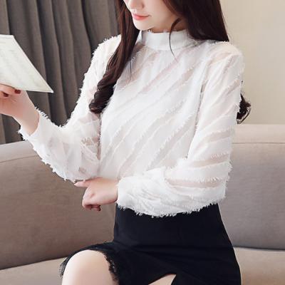 여성 사선 시스루 배색 블라우스 반목 긴팔 티셔츠