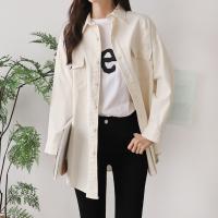 여성 봄 아우터 헤짐 루즈핏 포켓 면 셔츠 자켓