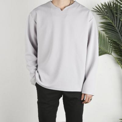 남자 여자 넥 노치절개 오버핏 긴팔 티셔츠