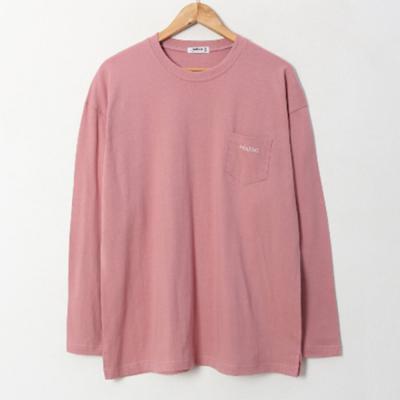 남성 라운드 봄 여름 원포켓 자수 오버핏 긴팔 티셔츠
