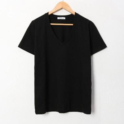 남자 여자 깊은 브이넥 레이어드 오버핏 반팔 티셔츠