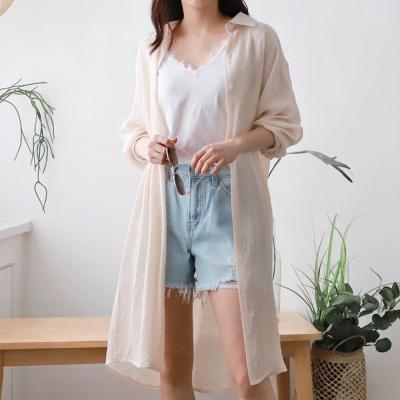 여성 여름 5컬러 가벼운 면 롱 로브 남방 셔츠