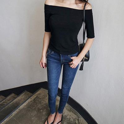 여성 오프숄더 러버 입술넥 심플 7부 티셔츠