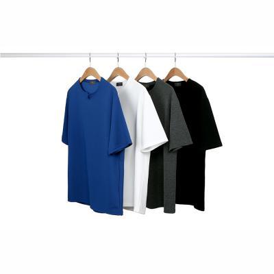 남성 댄디 심플 슬릿 V넥 폴리 반팔 티셔츠