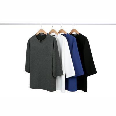 남성 댄디 심플 슬릿 V넥 폴리 7부 티셔츠