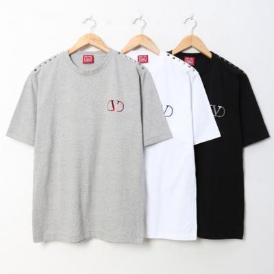 남녀공용 V로고 어깨 징포인트 라운드넥 반팔 티셔츠