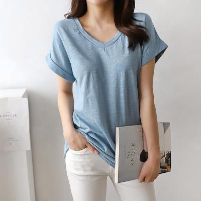 여성 가벼운 브이넥 롤업 캡소매 무지 면 티셔츠