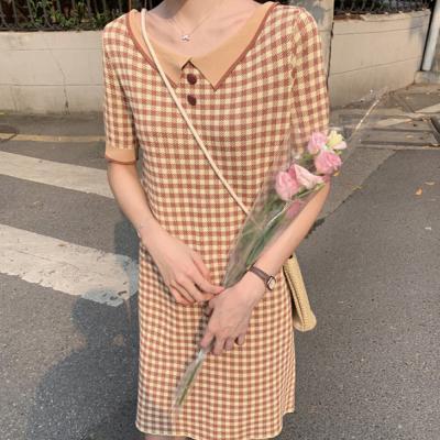 여성 러블리 깅엄체크 패턴 카라 원피스