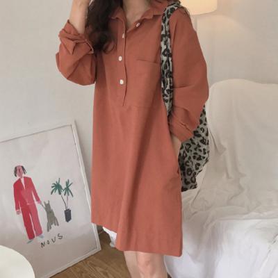 여성 긴팔 코랄핑크 버튼 셔츠 원피스