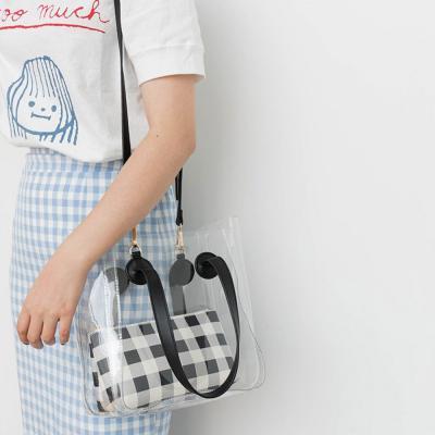 여자 체크 파우치 PVC 가죽 스트랩 숄더 토트백