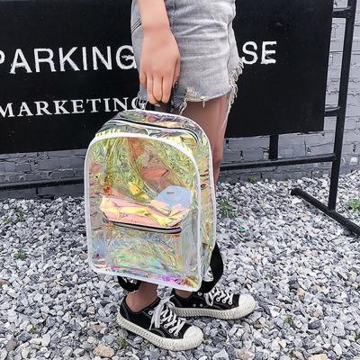 남여공용 영롱 PVC 투명 클리어 스트릿 백팩