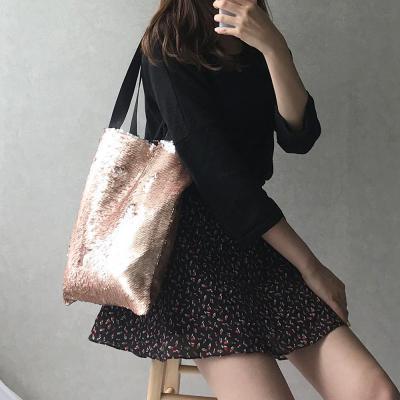 여성 쇼퍼 리버서블 시퀸 스팽글가방