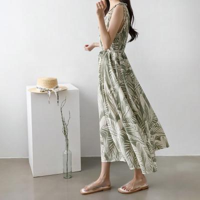 여성 여름 태슬 스트랩 야자수 잎 롱 원피스