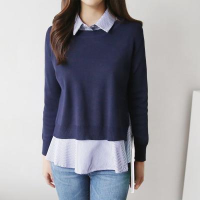 여성 뒤절개 니트 레이어드 줄무늬 프릴 셔츠
