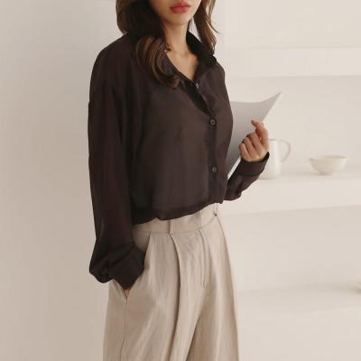 여성 4컬러 무지 루즈핏 가오리 시스루 셔츠
