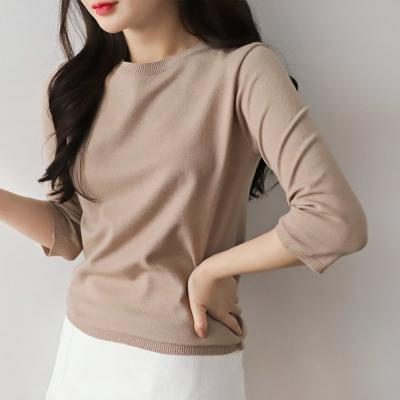 여성 가을톤 무지 5컬러 기본 7부 니트 티셔츠