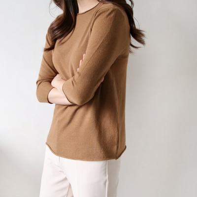 여성 가을 얇은 7부 스판 무지 니트 티셔츠