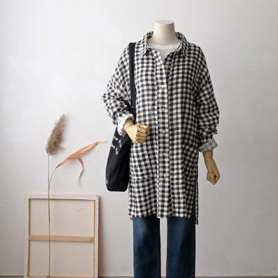 여성 언발란스 트임 투포켓 깅엄 체크 롱 셔츠