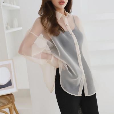 여성 진주 버튼 오버핏 섹시한 시스루 셔츠