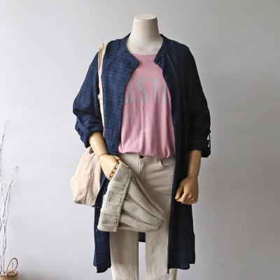 여성 캐주얼 옆트임 타탄 체크 롱 셔츠