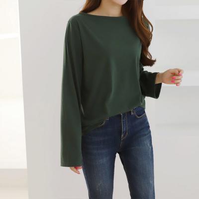 여성 심플 루즈핏 롱슬리브 긴팔 티셔츠