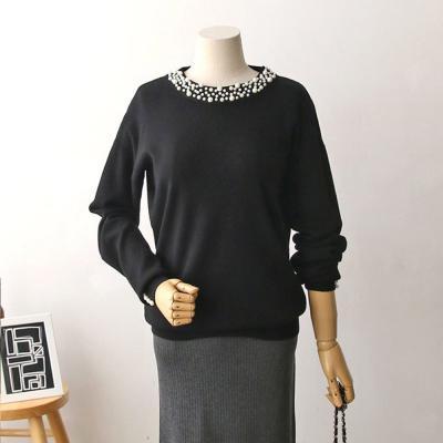 여성 4컬러 포인트 소매 진주 넥 니트 티셔츠