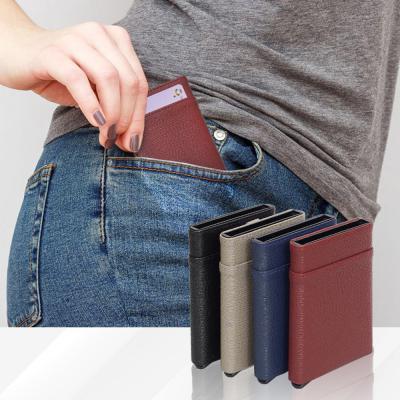 남녀공용 슬라이드 반자동 RFID 차단 카드지갑 목걸이