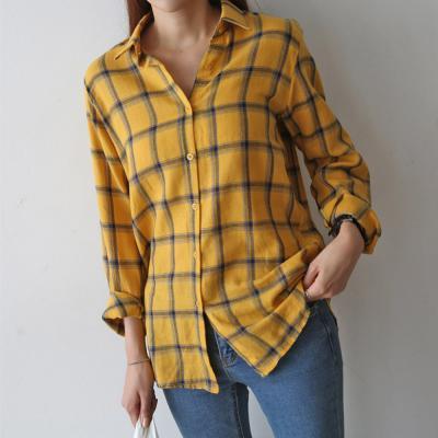여성 가을 언발 루즈핏 긴팔 배색 체크 셔츠