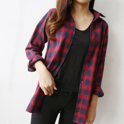 여성 캐주얼 언발란스 루즈핏 타탄 체크 셔츠