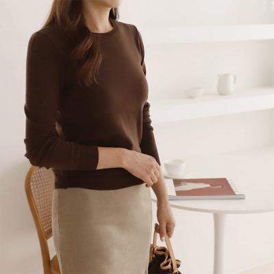 여성 5컬러 얇은 긴팔 심플 가을 니트 티셔츠