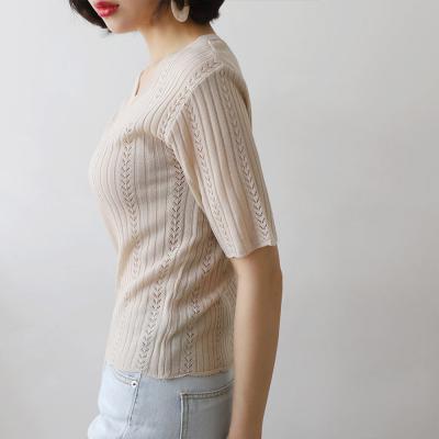 여성 브이 포인트 시스루 골지 니트 반팔 티셔츠