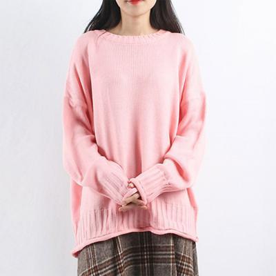 여성 오버핏 돌돌이 포인트 라운드 니트티셔츠