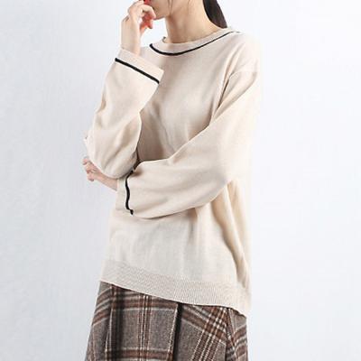 여성 5컬러 루즈핏 라운드 라인 포인트 니트티셔츠
