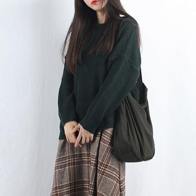 여성 라운드 얇은 가을 라운드 니트티셔츠
