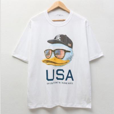 남자 캐주얼 대학생 오리 프린트 반팔 티셔츠
