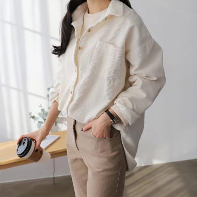 여성 가을 3컬러 포켓 오버핏 골덴 코듀로이 셔츠