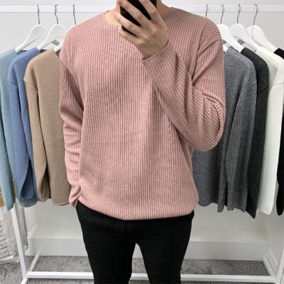 남성 오버핏 골지 라운드 심플 긴팔 니트 티셔츠