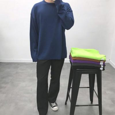 남성 데일리 비비드 오버핏 가을 레이어드 니트 티셔츠