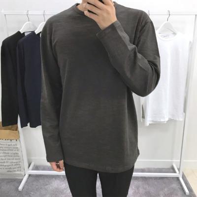 남성 코튼 솔리드 슬라브 긴팔 티셔츠