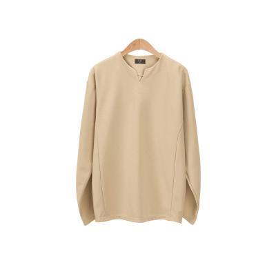 남성 심플 브이 포인트 스티치 라인 긴팔 티셔츠