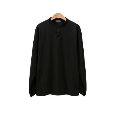 남성 심플 헨리넥 뽀송 브이 라운드 긴팔 티셔츠