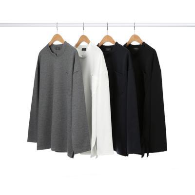 남자 캐주얼 라운드 브이절개 원포켓 긴팔 티셔츠
