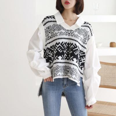 여성 보헤미안 패턴 일체형 니트 조끼 화이트 셔츠