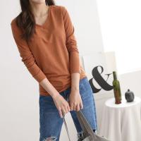 여성 가벼운 베이직 5컬러 브이넥 긴팔 티셔츠