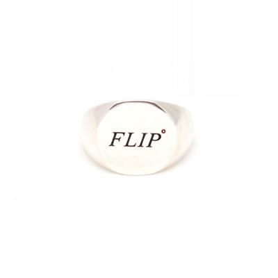 [FLIP] FLIP 플립 로고 라운드 실버 링 (유광)