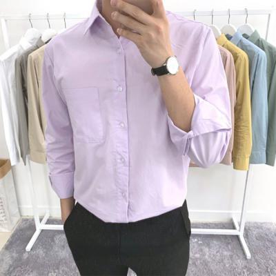 남성 봄 가을 베이직 파스텔 컬러 댄디 셔츠