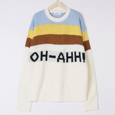 남성 캐주얼 부드러운 오아 배색 레터링 니트 티셔츠