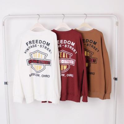 남자 여자 캐주얼 프리덤 빈티지 레터링 맨투맨 티셔츠